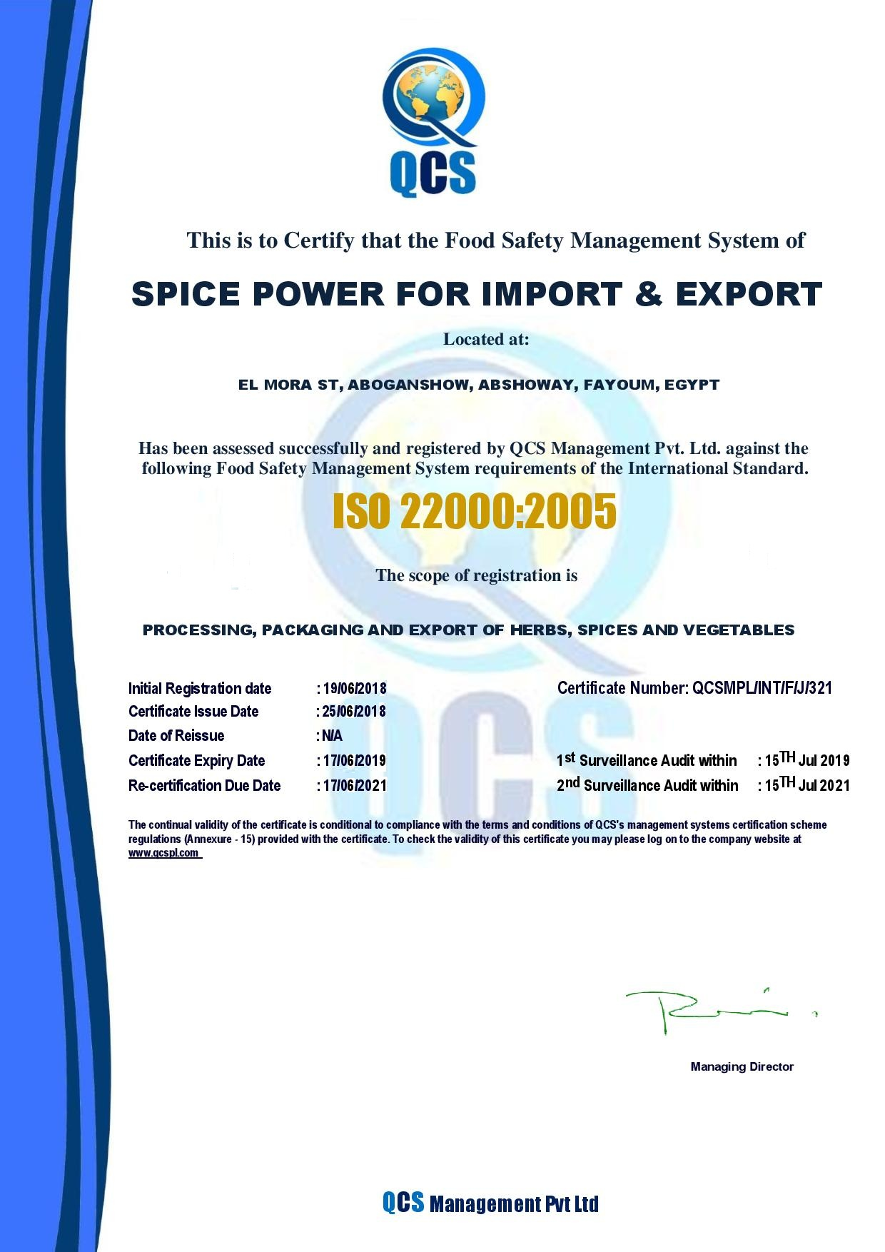 CERTIFICATE OF COMPLIANCE - FSMS spice power - 22000-page-001